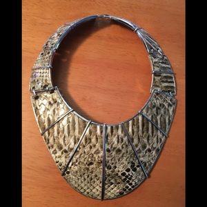 Snake print modern silver-tone statement necklace